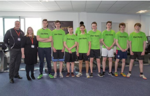 L to R: John Ide, Sports and Fitness Centre Manager, Bucks New University; Liz Hughes, Director of Facilities & Services, Bucks New University; and the Bucks UTC students in 'Our Gym'