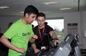 A Bucks UTC student and James Macdonald, Fitness Instructor, Bucks New University