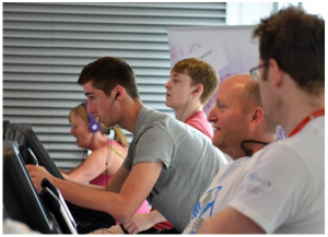 Concentration…Bucks UTC staff and students' on their bike ride