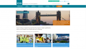 Screenshot of the Institution of Civil Engineers website