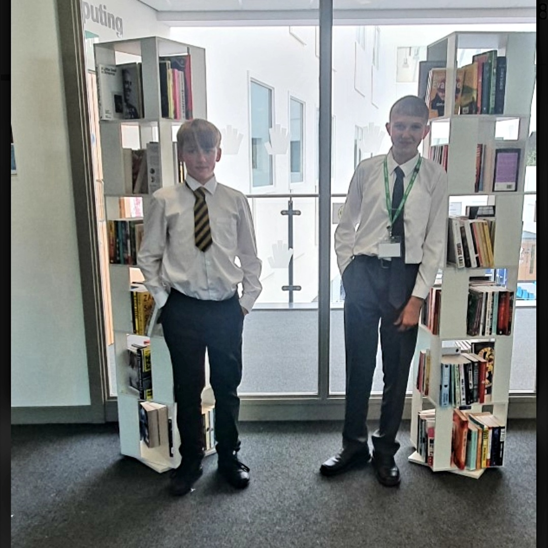 Students at book stands